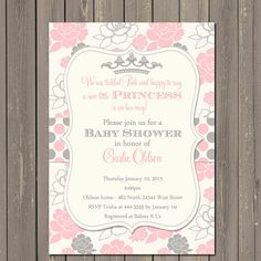 Princess Baby Shower Invitation Pink and Grey Floral with