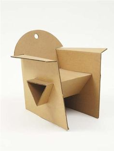 "OLIVIER LEBLOIS  ""T.4.1. (Tea For One)"" #armchair, ca. 1993  Corrugated cardboard. From the ""Cardboard Collection."" Manufactured by Quart de Poil, France.  19 in. (48.3 cm) high."