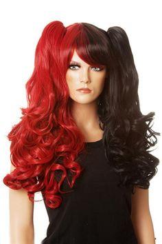 DELUXE BlackRed costume wig Detachable Pigtails www.thewigoutlet.com.au