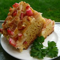 """Sour Cream Rhubarb Coffee Cake I """"Good warm or cold, this cake is incredibly moist inside, while the surface has a tiny bit of crisp from the sugar granules. Tangy rhubarb and sour cream are offset by the sweet cake and sugar sprinkle. It is DE-lish!"""""""