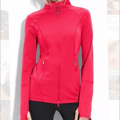 Hot pink Zella jacket Perfect for running, jogging, or yoga. Zella jacket with thumb holes. The zipper pull on mine is different from the top pic (not sure why) and is shown in the 3rd pic. Great used condition - size medium. Zella Jackets & Coats