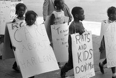 """Las mordeduras de niños pr parte de las ratas provocaron manifestaciones violentas en las calles de Harlem. Estos niños reclaman que se cuide Harlem diciendo """"Las ratas y los niños no hacen buenas migas""""."""