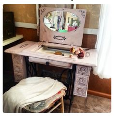 Vintage Treadle Sewing Machine Vanity