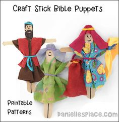 Craft Stick Bible Puppets for Dorcas Bible Lesson for Children's Ministry