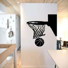 Basketball Hoop Wall Decal basketball wall decor by SportsVinyl Girl Bedroom Walls, Wall Decals For Bedroom, Girl Room, Bedroom Decor, Wall Decor, Wall Art, Basketball Bedroom, Basketball Wall, Illini Basketball
