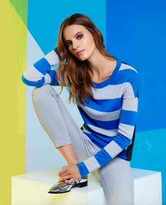 AQUA dashes into style with this striped crewneck cashmere sweater. Featuring look-at-me hues and trend-right color-blocking, it's the coziest way brighten up cold winter days.