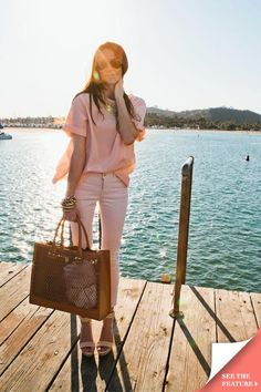 Blush and Tory Burch tote. Live the whole thing here.
