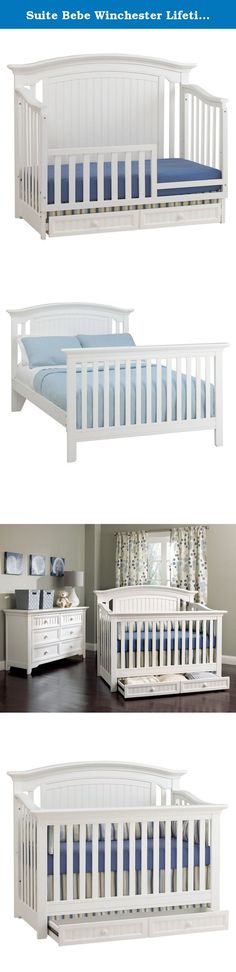 Suite Bebe Winchester Lifetime 4-in-1 Crib -. You'll love the classic beauty and elegance of the Suite Bebe Winchester Lifetime 4-in-1 Crib - White. Designed to grow with your baby, this all hardwood crib converts to a toddler bed, daybed, and full-size bed so your child can use it from the day you bring them home until the day they leave for college. The mattress adjusts to three different levels so you can easily lower it as your child gets taller and more mobile. Two drawers underneath...