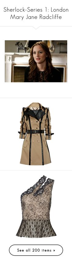 """""""Sherlock-Series 1: London Mary Jane Radcliffe"""" by demiwitch-of-mischief ❤ liked on Polyvore featuring gossip girl, leighton meester, outerwear, coats, jackets, coats & jackets, burberry, women, leather trim trench coat and brown coat"""