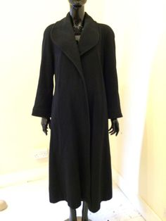 Windsmoor Pure Wool Long Winter Black Swing Duster Coat 14 Vintage