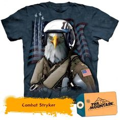 Bald Eagle Shirt Tie Dye Combat Pilot Stryker T-shirt Adult Tee - Bird T-shirts American Eagle T Shirts, Eagle Shirts, American Flag, American Shorts, American Party, Pilot T Shirt, Flag Shirt, Shirt Men, Band Shirts
