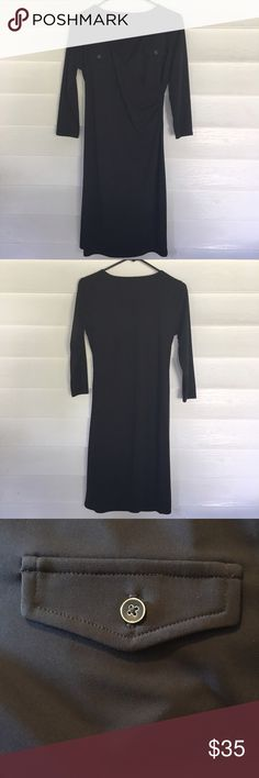 Talbots Petite | Black Faux Wrap Dress This Talbots faux wrap dress is beautiful! With the fitted  style you'll definitely be making a fashion statement! Great condition! No stains/ holes. 3/4 sleeve, 2 faux button pockets in front and 37.5 inches in length. Talbots Dresses Midi