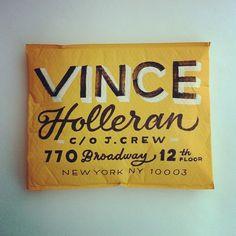 "Erik Marinovich  ""Vince Holleran"" Envelope lettering"
