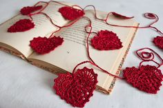 Valentine Heart Crochet Garland Red