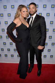 Mariah Carey & 'Empire' star Jussie Smollett at the Human Rights Campaign Los Angeles Gala 2015