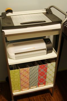 IHeart Organizing: Basement Progress - Studio Workspace [utility cart and scrapbooks magazine boxes]