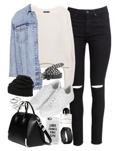 """""""Outfit for a casual day out with sneakers"""" by ferned ❤ liked on Polyvore featuring H&M, MANGO, Pull&Bear, Casetify, Topshop, Givenchy, Maison Scotch, Byredo, Leith and Fitbit"""