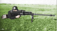Hungarian soldier with the Solothurn 20mm anti tank rifle