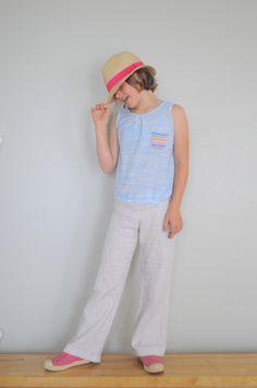 rainbow pocket tank and wide-leg linen pants // elsie marley