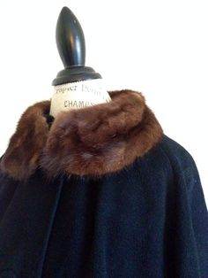 Vintage 1950s Cashmere Swing Coat with Fur on Etsy