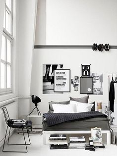 """grey bedrooms / the style files - i love the heels on the wall. i totally have my heels displayed """"creatively"""" in my room.. if only i had high ceilings.. 