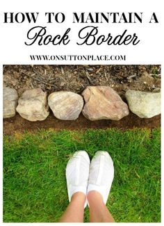 Easy step-by-step that shows how to keep a rock border looking tidy. Easy step-by-step that shows how to maintain a garden rock border. Curvy garden edging is the perfect addition to any landscape design. Rock Edging, Rock Border, Stone Edging, Lawn Edging, Decorative Rock Landscaping, Landscaping With Rocks, Front Yard Landscaping, Backyard Landscaping, Landscaping Ideas