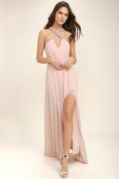 Always Stunning Convertible Blush Pink Maxi Dress