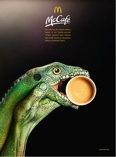 The ad aims to highlight that McDonald's only uses the finest grade Arabica beans from South and Central American Rainforest Alliance Certified farms. Creative Advertising, Print Advertising, Advertising Campaign, Print Ads, Marketing And Advertising, Advertising Ideas, Mcdonalds, Ad Design, Graphic Design