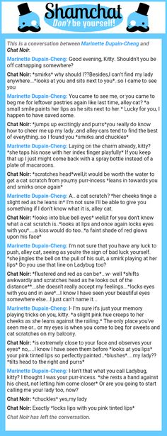 A conversation between Chat Noir and Marinette Dupain-Cheng
