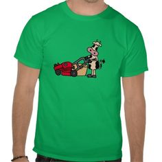 Funny Cow Pushing Red Lawn Mower T-shirt #cows #funny #shirts #lawnmower And www.zazzle.com/tickleyourfunnybone*