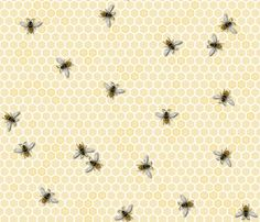 """Fun for pyjamas, aprons, sweet gifts as wrapping, tablecloth, decals on the back of  glass door kitchen furniture....  To see a close up view, select decals and choose the 5"""" x 5"""" and you should see all the honeybee details!"""