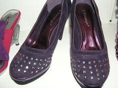 Studded toe heels-$54.99 Designer: Reneeze, purple size 8, black size 9