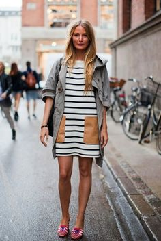 Mini-dress with #stripes and oversized pockets with a relaxed #parka