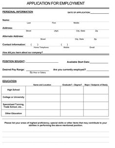 ... employment more printable job application website job application form