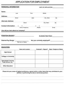 APPLICATION EMPLOYMENT FORM PDF