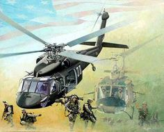 Passing the Torch by Joe Kline Blackhawk & Huey) Military Helicopter, Military Aircraft, Airplane Art, Black Hawk, Fighter Aircraft, Fighter Jets, Military Art, Military Service, American Soldiers