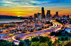 Seattle in Motion at Sunset; photograph by Jason Hoover