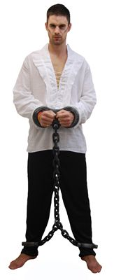 Keep your prisoners under control with this great feet & hand shackles fancy dress accessory. Simply slip the cuffs over your hands and feet! One size fits most
