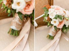 if your dress has lace, a gold and lace bouquet wrap. like this or white lace over soft-hued gold ribbon.