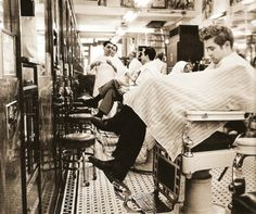 James Dean in a barber shop 1950's