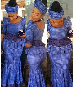 shweshwe wedding dresses Aside from the designs for every day and classic events, here are shweshwe dresses to suit your engagement next season African Wear Dresses, Latest African Fashion Dresses, African Print Fashion, African Attire, Setswana Traditional Dresses, South African Traditional Dresses, Kitenge, African Blouses, African Shirts