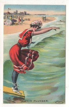 """A Fair Plunger"" Bathing Girl on Diving Board at Beach Vintage 1911 Postcard"