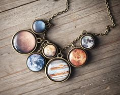 Solar System necklace Space jewelry Statement by BeautySpot