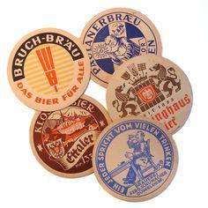 Vintage German Beer Coasters Letterpress Set of 5