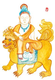 Buddha Manjusri Monju Buddha of Wisdom  Zen Art Brush