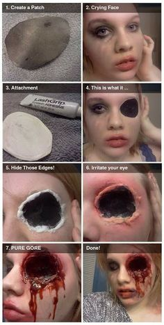 How to make big shotgun bullet hole in your head, only with makeup