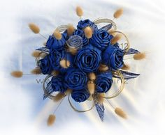 Flax wedding bouquet with blue flax flowers and bunnytails
