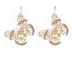 Gold Diamante Butterfly Drop Earrings