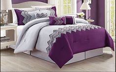 Modern 7 Piece Jasmine Bedding Purple Grey Black Floral Emboidered KING Comforter Set with accent pillows