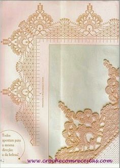 Check out the diagrams and learn to make more than 150 points, (crochet edgings) with images. There are several crochet borders that can be applied in various crochet projects.Comprueba los gráficos, y apre Crochet Border Patterns, Crochet Collar Pattern, Crochet Boarders, Crochet Lace Edging, Crochet Motifs, Crochet Diagram, Doily Patterns, Crochet Chart, Thread Crochet